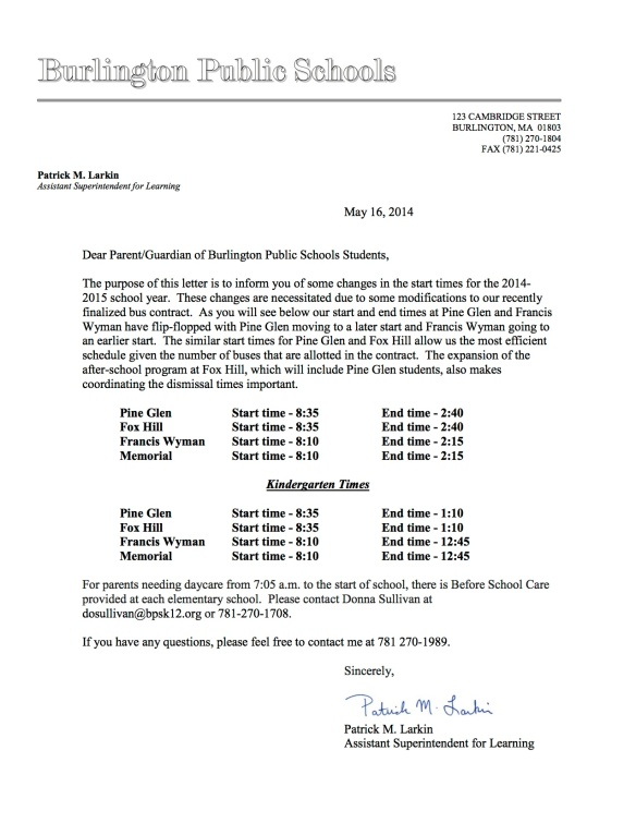 2014/2015 Elementary/Bus Times